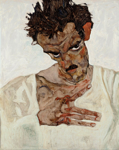 Self-Portrait with Lowered Head -  Egon Schiele - McGaw Graphics