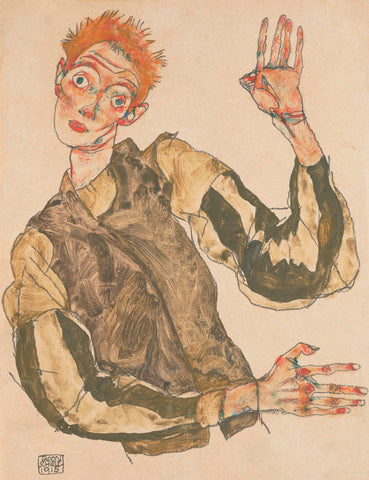 Egon Schiele - Self-Portrait with Striped Armlets