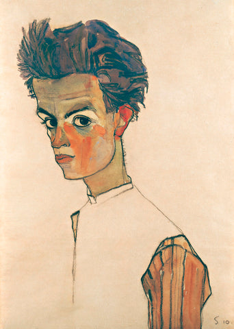 Egon Schiele - Self-Portrait with Striped Shirt