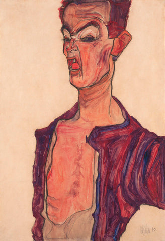 Egon Schiele - Self-Portrait, Grimacing