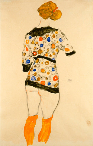 Standing Woman in a Patterned Blouse -  Egon Schiele - McGaw Graphics
