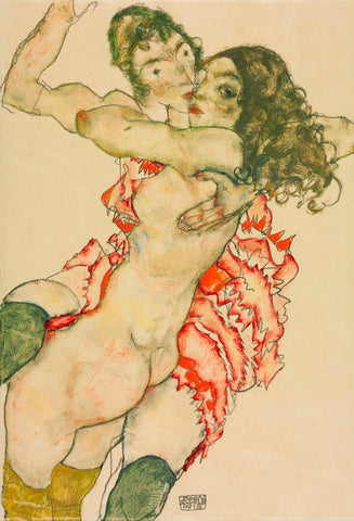 Two Women Embracing -  Egon Schiele - McGaw Graphics