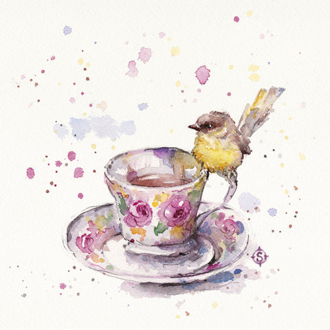 Tea Time (Eastern Yellow Robin) -  Sillier than Sally - McGaw Graphics
