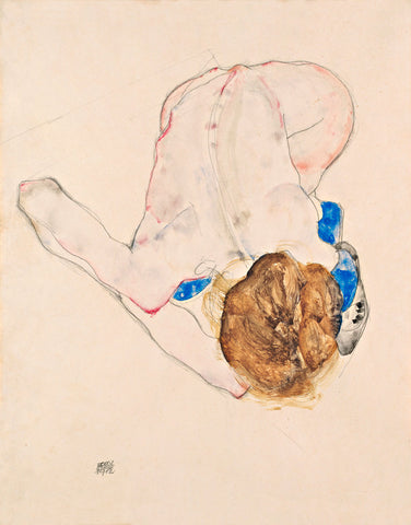 Egon Schiele - Nude with Blue Stockings, Bending Forward, 1912