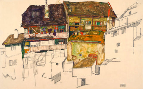 Egon Schiele - Old Houses in Krumau, 1914