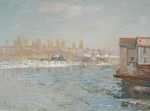 The Loing and the Mills of Moret, Snow Effect, 1891 -  Alfred Sisley - McGaw Graphics