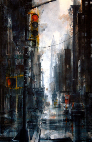 Broadway and Howard Street, rain -  Tim Saternow - McGaw Graphics