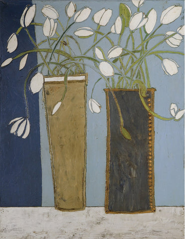 Karen Tusinski - Elongated Vases with White Tulips