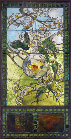 Parakeets and Gold Fish Bowl, about 1893 -  Louis Comfort Tiffany - McGaw Graphics