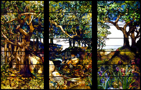 Louis Comfort Tiffany - A Wooded Landscape in Three Panels, ca. 1905