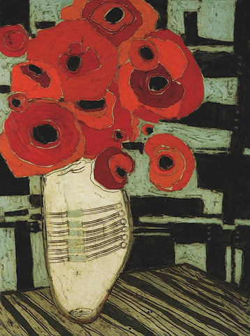 Karen Tusinski - Poppies on Table with Chairs