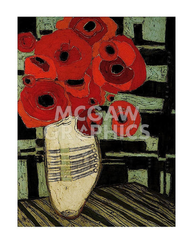 Poppies on Table with Chairs -  Karen Tusinski - McGaw Graphics