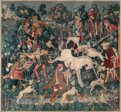 The Unicorn Defends Itself (from the Unicorn Tapestries), between 1495 and 1505 -  Unknown Tapestry Artist - McGaw Graphics