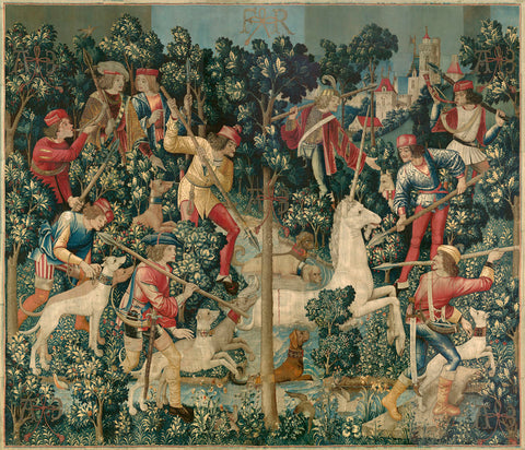 Unknown Tapestry Artist - The Unicorn is Attacked (from the Unicorn Tapestries), between 1495 and 1505