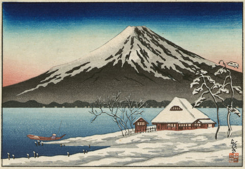Winter Landscape with Small Snow-Covered Building on the Coast and View of Mount Fuji -  Unknown Artist - McGaw Graphics