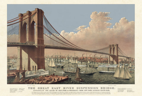 The Great East River Suspension Bridge, 1877 -  Vintage Reproduction - McGaw Graphics