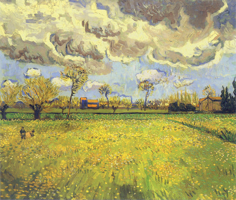 Vincent van Gogh - Meadow with Flowers under a Stormy Sky, 1888