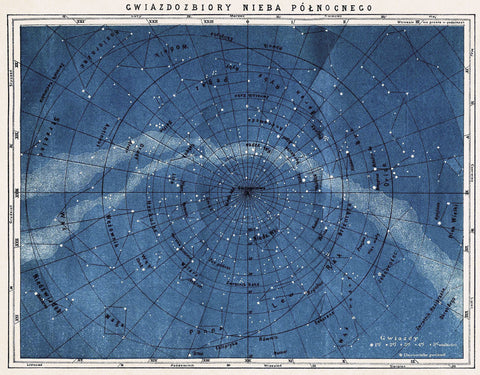 Vintage Reproduction - Astronomy Map Northern Constellations