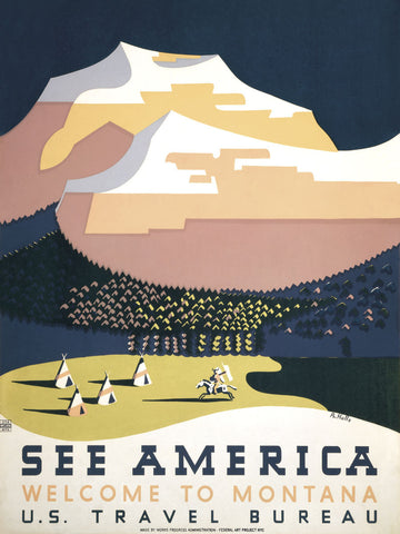 See America - Welcome to Montana I -  Vintage Reproduction - McGaw Graphics