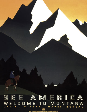 See America - Welcome to Montana II -  Vintage Reproduction - McGaw Graphics