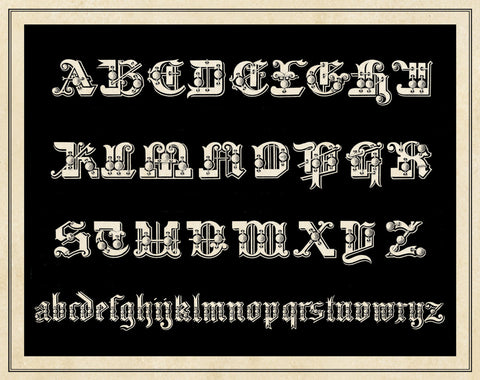 Ornamental French Alphabet (black) -  Vintage Reproduction - McGaw Graphics
