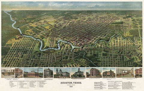 Vintage Reproduction - Bird's Eye Map of Houston, Texas, 1891