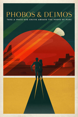 Space X Mars Tourism Poster for Phobos and Deimos -  Vintage Reproduction - McGaw Graphics