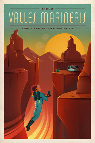 Space X Mars Tourism Poster for Valles Marineris -  Vintage Reproduction - McGaw Graphics