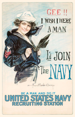 Gee!! I Wish I were a Man, I'd Join the Navy -  Vintage Reproduction - McGaw Graphics