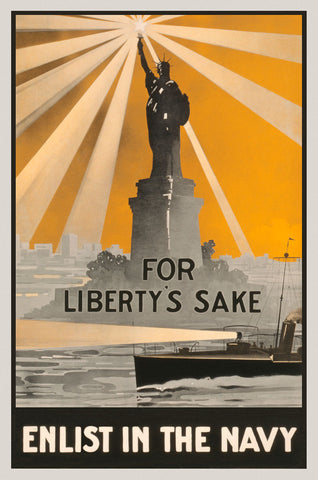 For Liberty's Sake, Enlist in the Navy -  Vintage Reproduction - McGaw Graphics