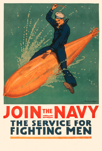 Join the Navy, the Service for Fighting Men -  Vintage Reproduction - McGaw Graphics