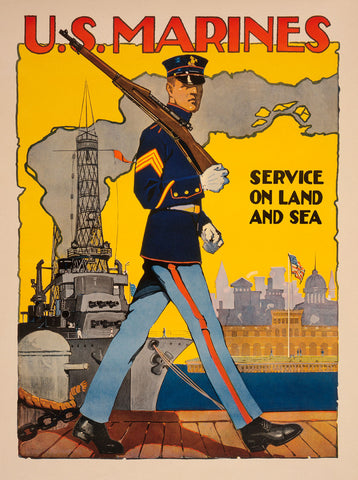 U.S. Marines, Service on Land and Sea -  Vintage Reproduction - McGaw Graphics