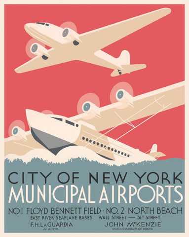 City of New York Municipal Airports -  Vintage Reproduction - McGaw Graphics