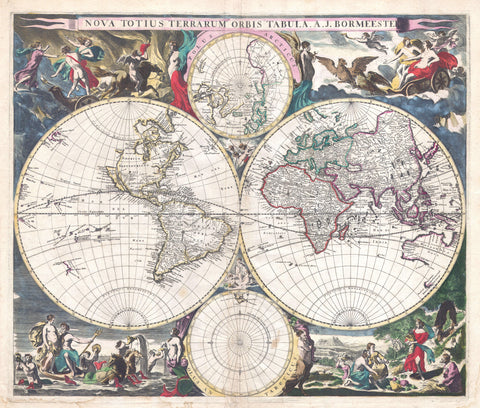 Bormeester - Map of the World, 1685 -  Vintage Map - McGaw Graphics
