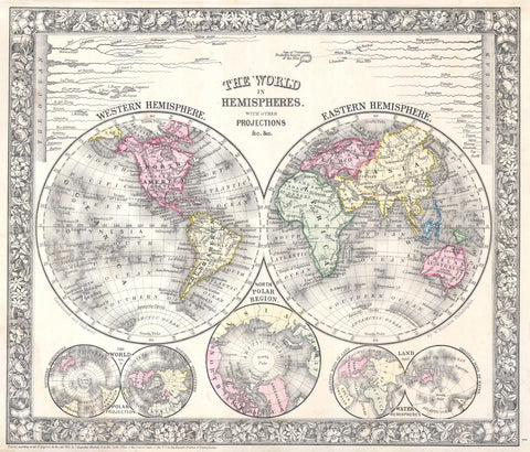 Mitchell - Map of the World in Hemispheres, 1864 -  Vintage Map - McGaw Graphics