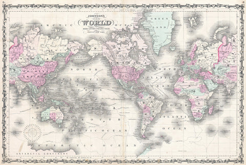 Johnson - Map of the World on Mercator Projection, 1862 -  Vintage Map - McGaw Graphics
