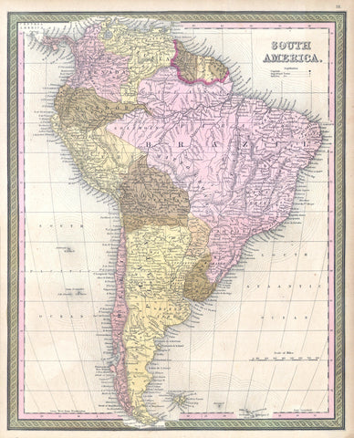 Mitchell - Map of South America, 1850 -  Vintage Map - McGaw Graphics