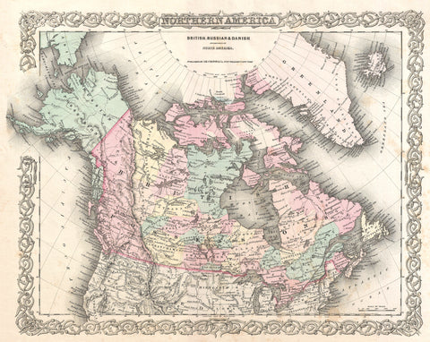 Colton - Map of British North America or Canada, 1855 -  Vintage Map - McGaw Graphics