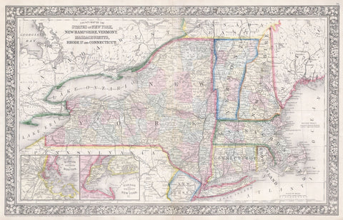 Mitchell - Map of New York, Massachusetts, Connecticut, Rhode Island, New Hampshire, and Vermont, 1864 -  Vintage Map - McGaw Graphics