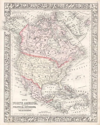 Mitchell - Map of North America, 1864 -  Vintage Map - McGaw Graphics