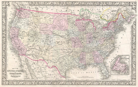 Mitchell - Map of the United States, 1866 -  Vintage Map - McGaw Graphics