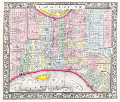 Mitchell - Street Map of Philadelphia, 1860 -  Vintage Map - McGaw Graphics