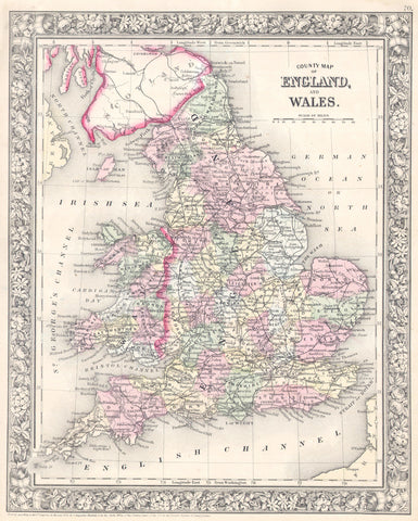 Mitchell - Map of England and Wales, 1864 -  Vintage Map - McGaw Graphics