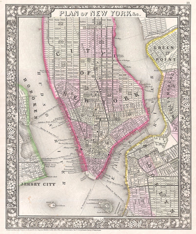 Mitchell - Map of New York City and Brooklyn, 1866 -  Vintage Map - McGaw Graphics