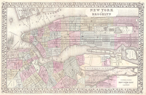 Mitchell - Map of New York City, 1882 -  Vintage Map - McGaw Graphics