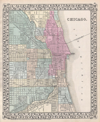 Mitchell - Map of Chicago, 1874 -  Vintage Map - McGaw Graphics