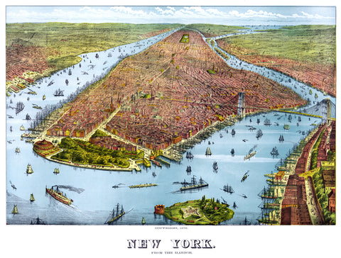 New York from the Harbor, ca. 1879 -  Vintage Map - McGaw Graphics