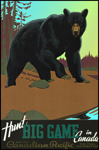Hunt Big Game in Canada - Grizzly -  Vintage Sophie - McGaw Graphics