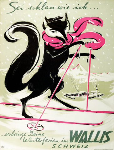 Wallis - Skiing Fox -  Vintage Sophie - McGaw Graphics