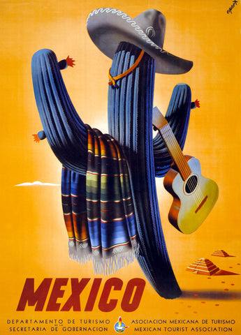 Mexico - Cactus with Guitar -  Vintage Sophie - McGaw Graphics